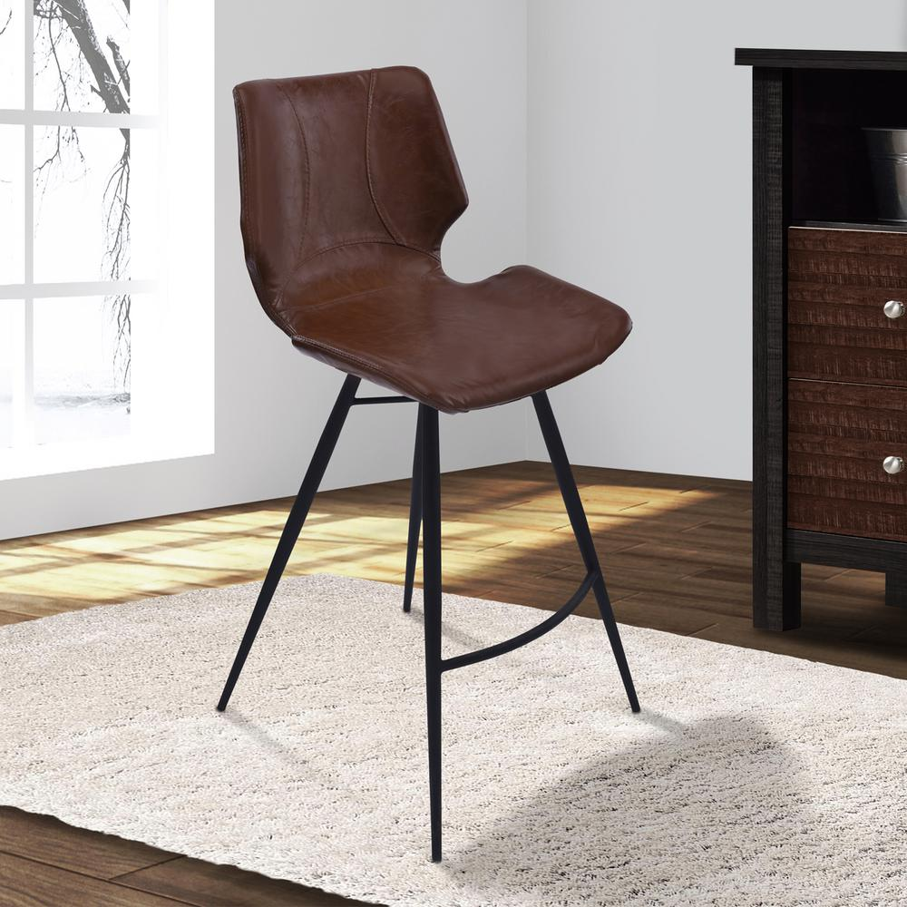 Armen Living Zurich 30 In. Vintage Coffee Faux Leather And Black Metal  Finish Barstool