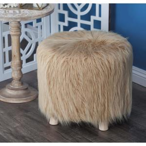 Admirable 16 In Brown Faux Fur Footstool Cjindustries Chair Design For Home Cjindustriesco