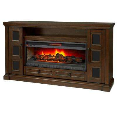 Cecily 72 in. Media Console Infrared Electric Fireplace in Rich Brown Cherry