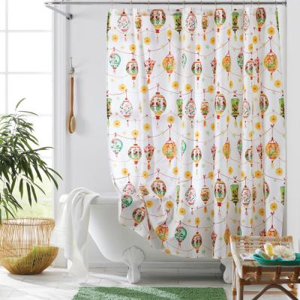 Festival Lantern 72 in. Multicolored Geometric Cotton Percale Shower Curtain