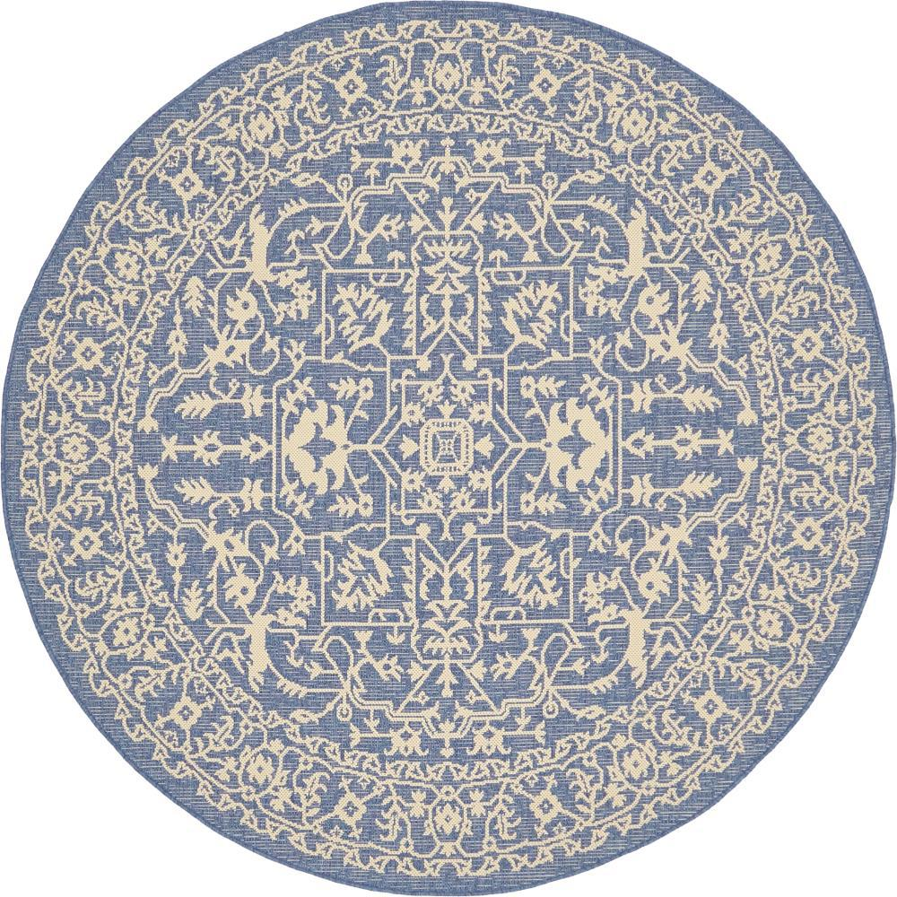 Unique Loom Outdoor Blue 6 Ft X 6 Ft Round Area Rug