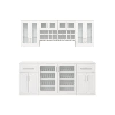 Home Bar 21 in. White Cabinet Set (8-Piece)