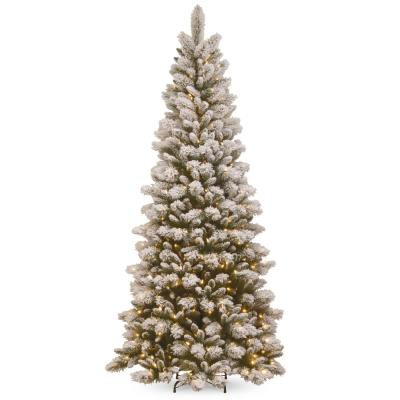 7.5 ft. Snowy Westwood Slim Pine Tree with Clear Lights