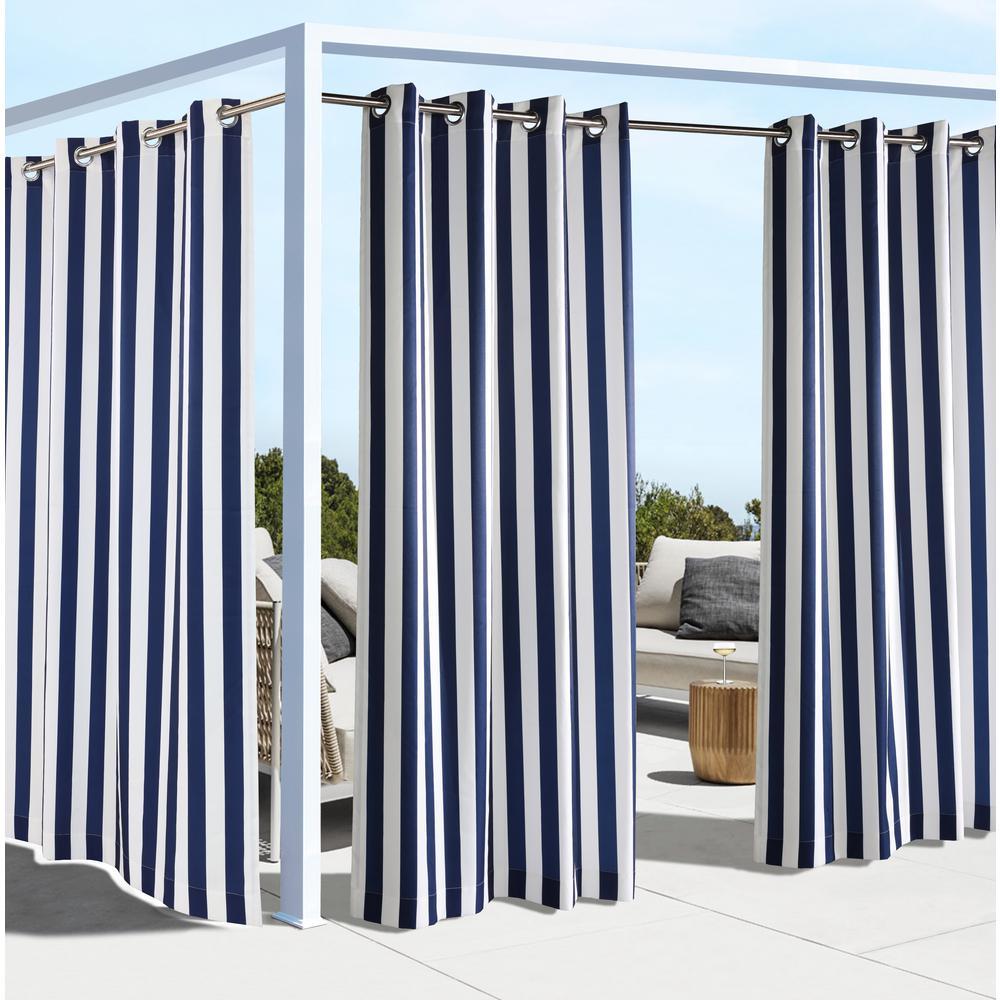 Coastal Stripe 50 in. W x 96 in. L Indoor - Outdoor Window Panel in Navy