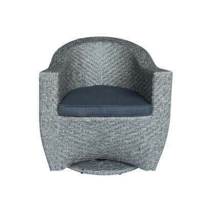Larchmont Mixed Black Swivel Wicker Outdoor Lounge Chair with Dark Grey Cushion