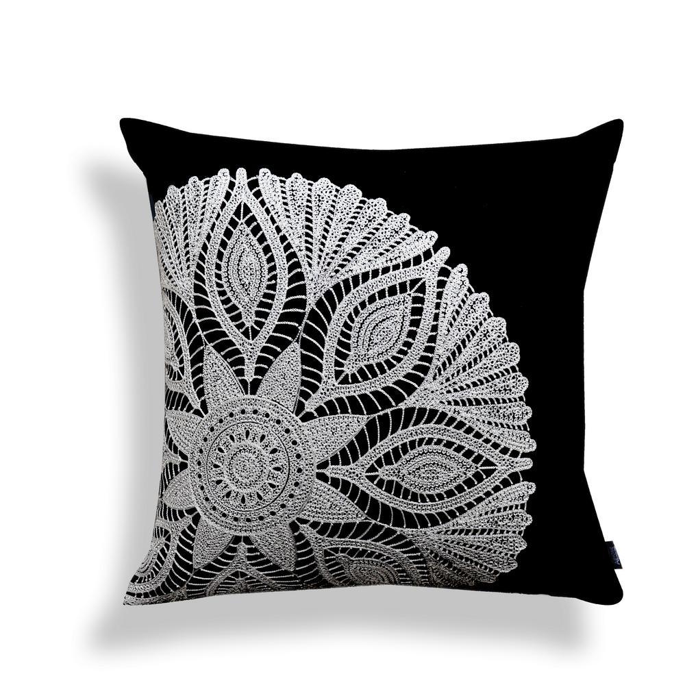 A1HC Black Crochet Motif 20 in. Cotton Throw Pillow A1II004(BLACK)