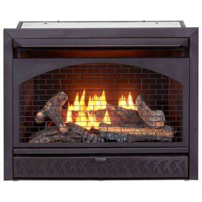 26,000 BTU Vent Free Dual Fuel Propane and Natural Gas Indoor Fireplace Insert with T-Stat Control