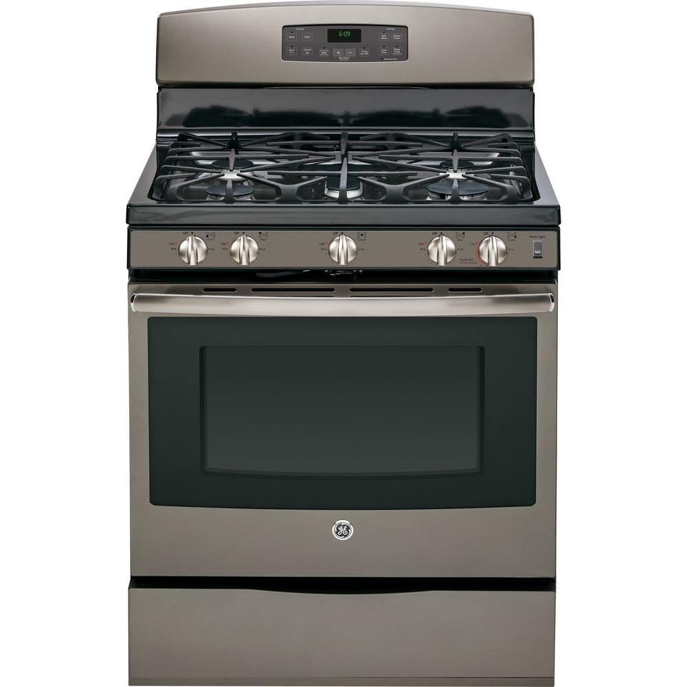 GE 5.0 cu. ft. Gas Range with Self-Cleaning Convection Oven in Slate