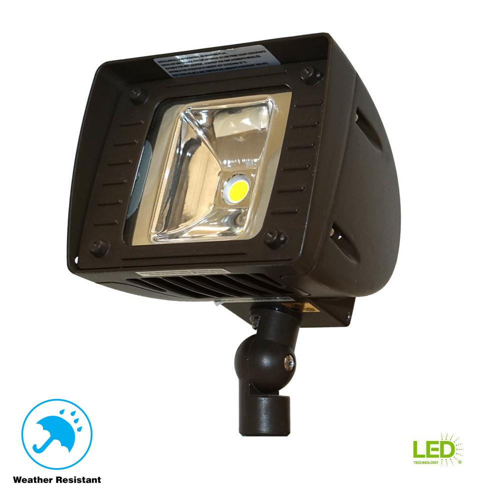 Night Crawler 20-Watt Bronze Outdoor Integrated LED Flood Light with Integrated