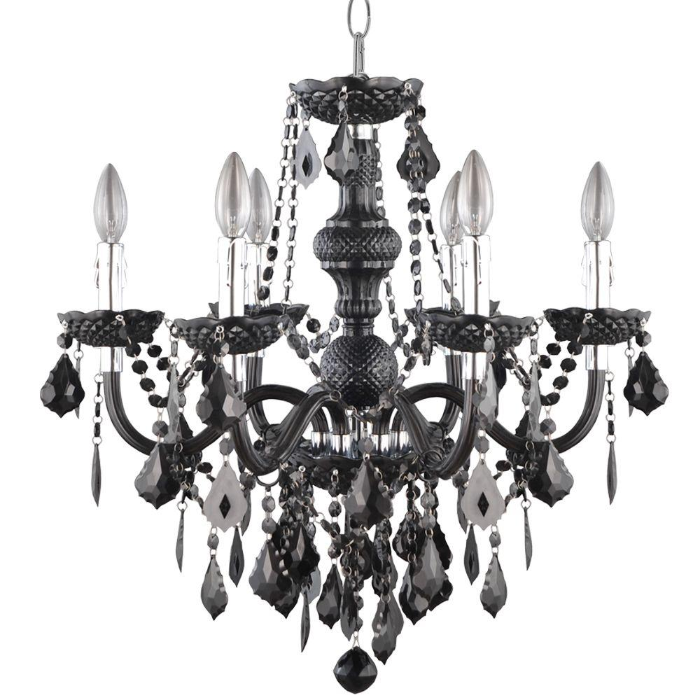 Black chandeliers lighting the home depot maria theresa 6 light chrome and black acrylic chandelier arubaitofo Image collections