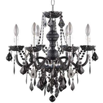 Maria Theresa 6-Light Chrome and Black Acrylic Chandelier