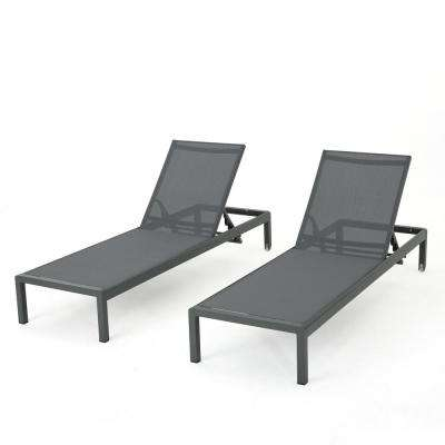 Cape Coral Dark Grey 2-Piece Metal Adjustable Outdoor Chaise Lounge