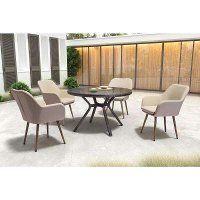 Pismo Stationary Aluminum Outdoor Dining Chair with Taupe Cushion