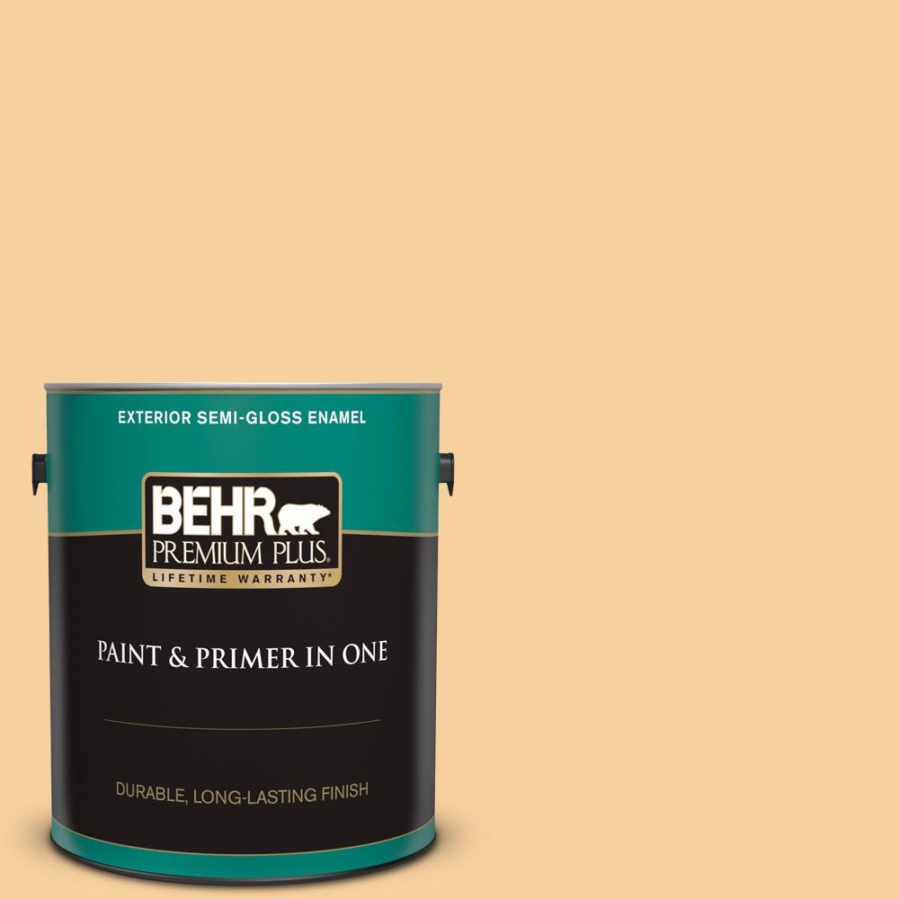 Behr Premium Plus 1 Gal 320c 3 Honey Butter Semi Gloss Enamel Exterior Paint And Primer In One 540001 The Home Depot