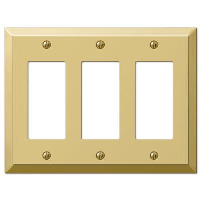 Metallic 3 Gang Rocker Steel Wall Plate - Polished Brass