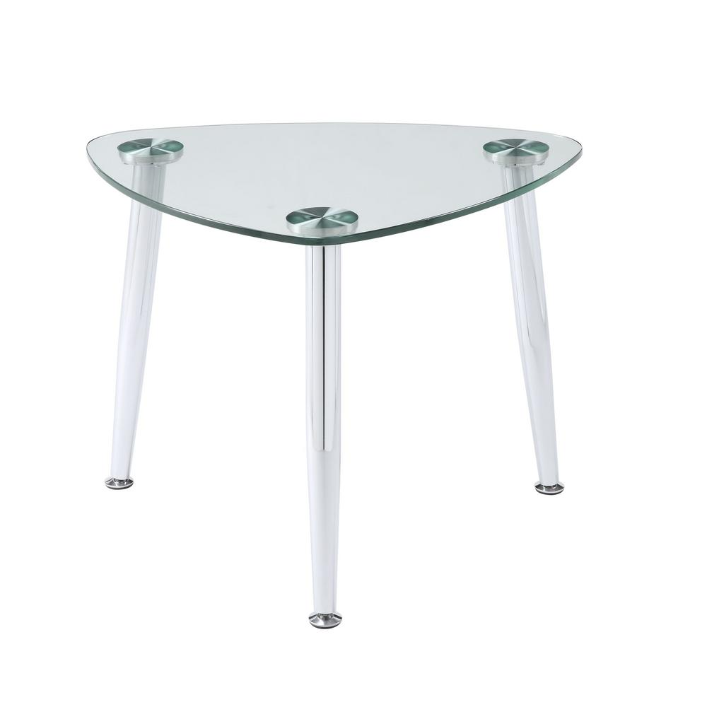 Acme Furniture Phlox Chrome And Clear Glass End Table