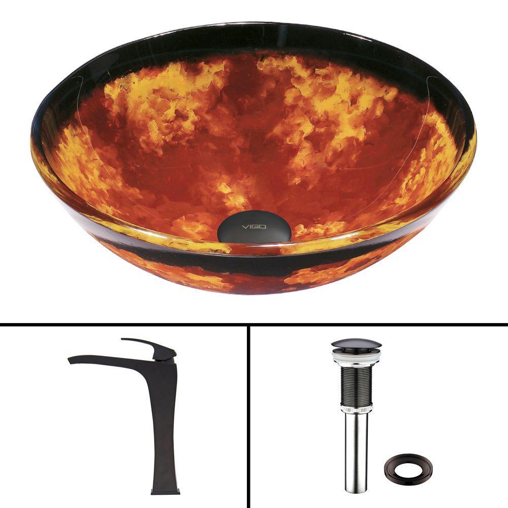 Glass Vessel Sink in Auburn/Mocha Fusion and Blackstonian Faucet Set in