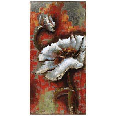 """48 in. x 24 in. """"Garden Rose 2"""" Mixed Media Iron Hand Painted Dimensional Wall Art"""