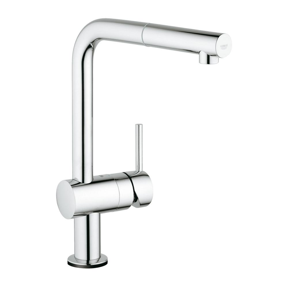 Grohe Minta Touch Single Handle Pull Out Sprayer Kitchen Faucet In Starlight Chrome 30218001 The Home Depot