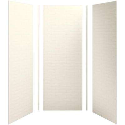 Choreograph 36 in. x 36 in. x 96 in. 5-Piece Shower Wall Surround in Biscuit with Brick Texture for 96 in. Showers