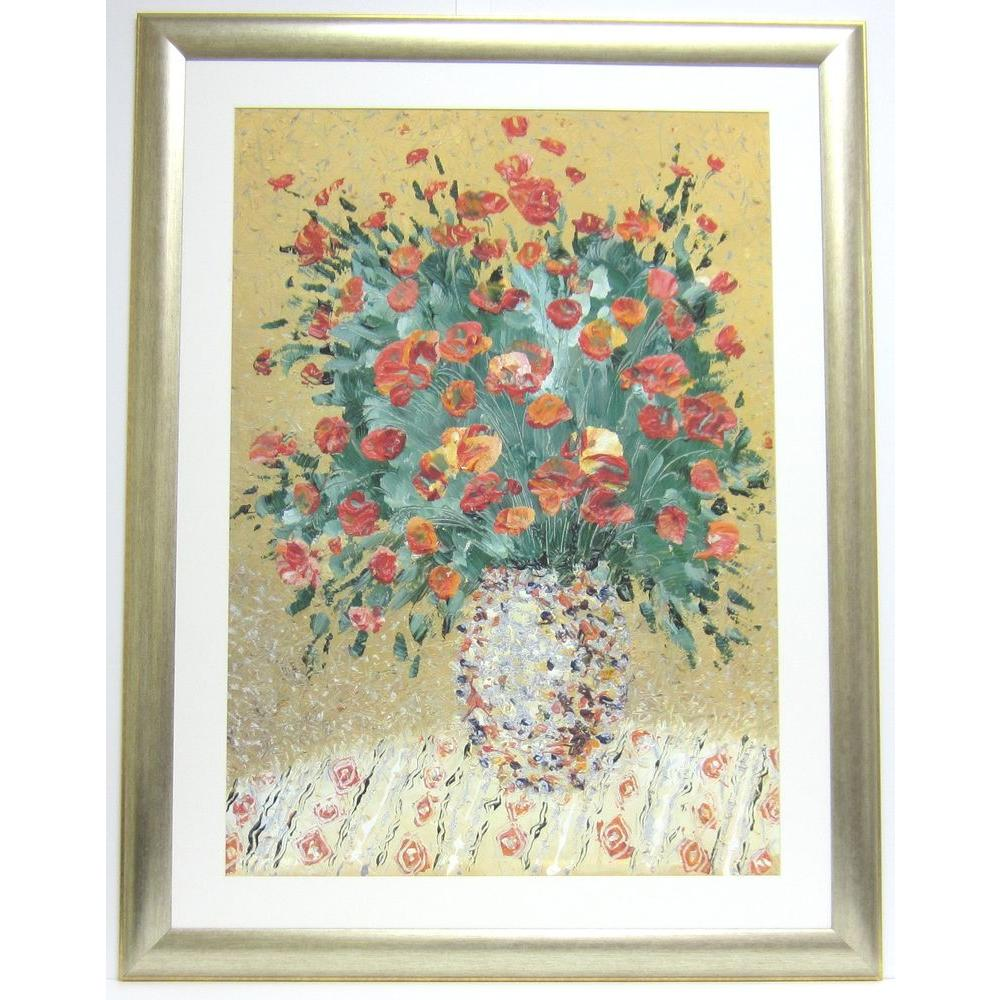 null 32.7 in. x 42.3 in. A Still Life in Red Flowers Framed Wall Art