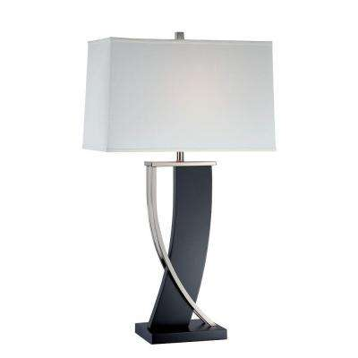 Designer Collection 31 in. Walnut Table Lamp with Off-White Fabric Shade