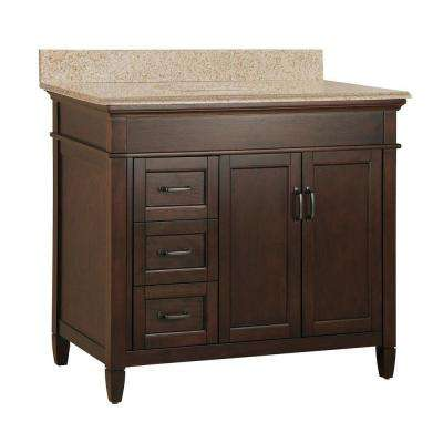 Ashburn 37 in. W x 22 in. D Bath Vanity in Mahogany with Granite Vanity Top in Beige