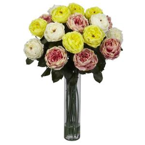 18 in h yellow fancy rose with cylinder vase silk flower h assorted fancy rose silk flower arrangement mightylinksfo