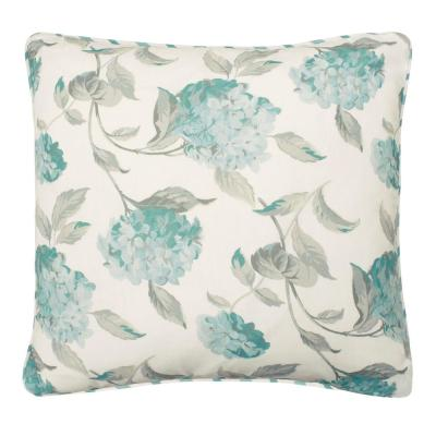 Rosemary White and Blue Floral Down 20 in. x 20 in. Throw Pillow