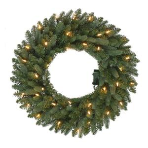 24 inch Pre-Lit B/O LED New Meadow Artificial Christmas Wreath x 225 Tips with 35 Warm White Lights and Timer by