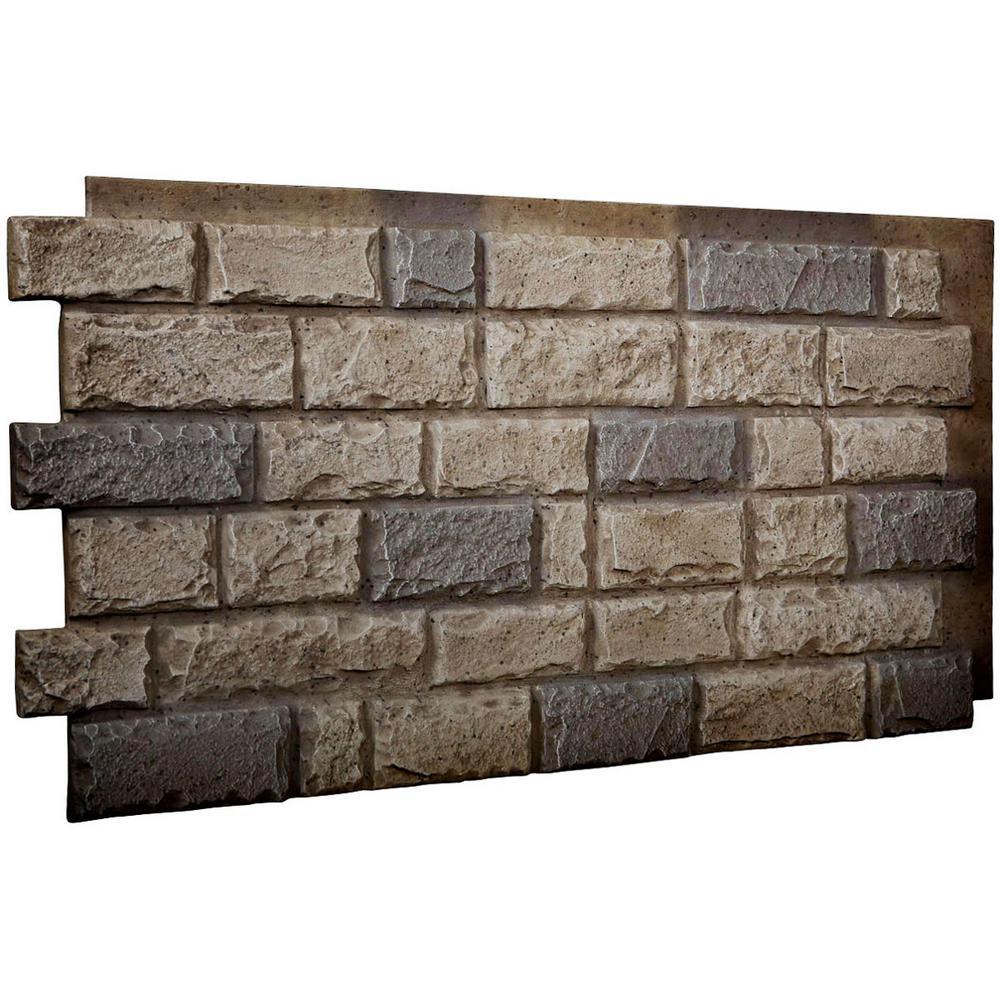 1-1/2 in. x 48 in. x 25 in. Platinum Urethane Cut Coarse Random Rock Wall Panel
