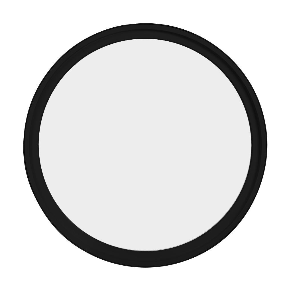 18 in. x 18 in. Round Black 6-9/16 in. Jamb 3-1/2 in. Interior Trim Geometric Aluminum Clad Wood Window