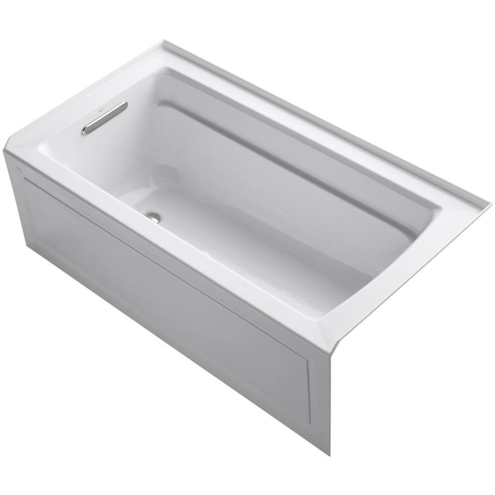 Archer 5 ft. Acrylic Left Drain Rectangular Alcove Whirlpool Bathtub in White