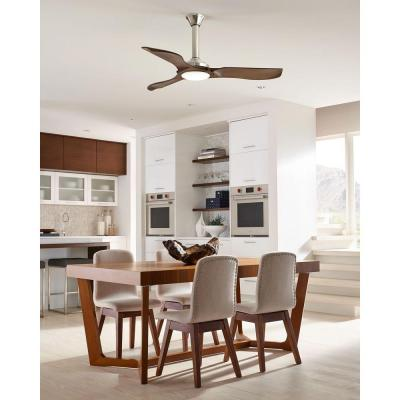 Minimalist 56 in. LED Indoor/Outdoor Brushed Steel Ceiling Fan with Dark Walnut Blades