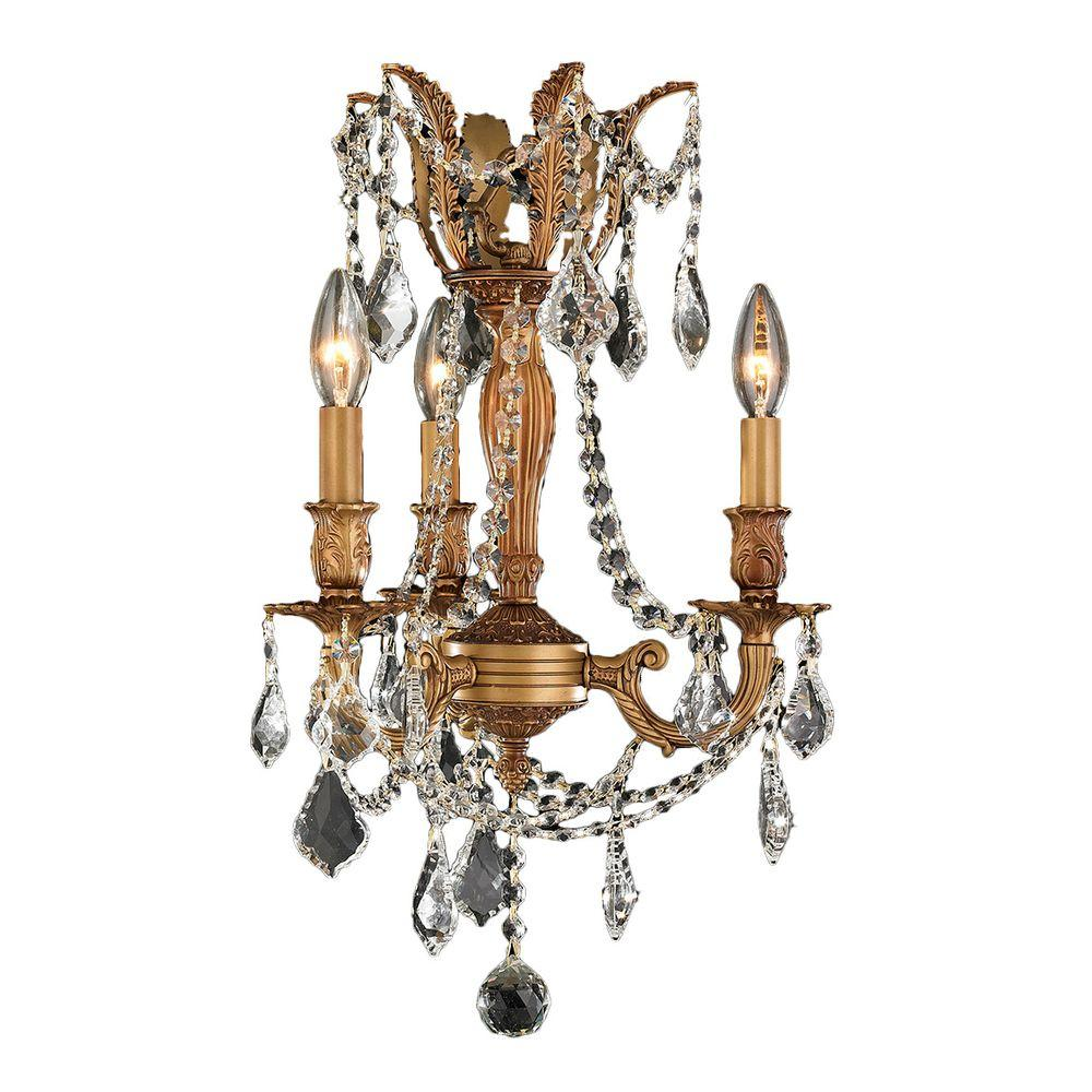 Worldwide Lighting Windsor 3-Light French Gold with Clear Crystal Chandelier