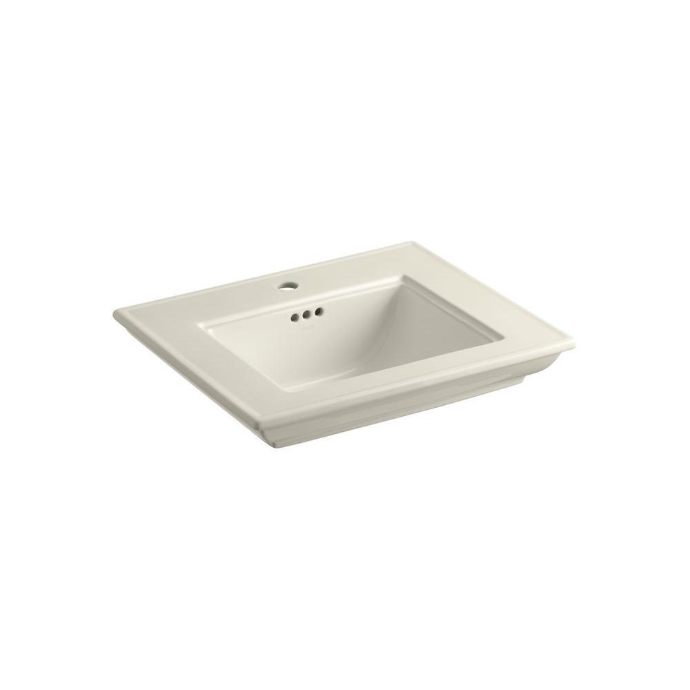 KOHLER Memoirs 8-5/8 in. Ceramic Pedestal Sink Basin in Almond with Overflow Drain