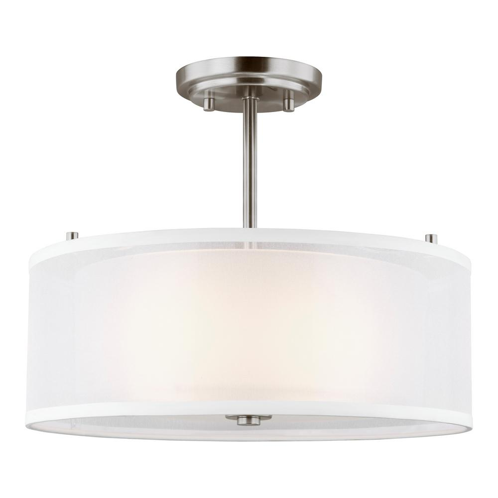 Elmwood Park 15 in. 2-Light Brushed Nickel Semi-Flush Mount with Satin Etched Glass Shade