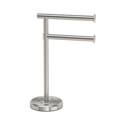 Latitude II Minimalist Countertop 12 in. 2-Arm Pivot Hand Towel Bar Holder in Satin Nickel