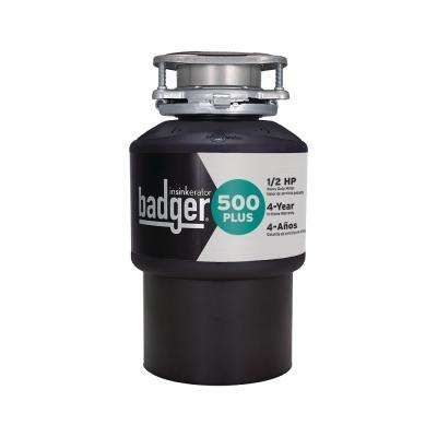Badger 500 Plus 1/2 HP Continuous Feed Garbage Disposal with Power Cord Kit Included