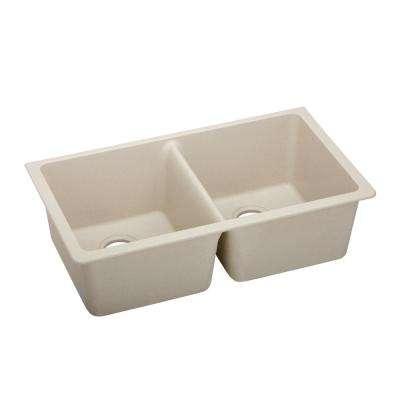 Quartz Classic Undermount Composite 33 in. 50/50 Double Bowl Kitchen Sink in Putty