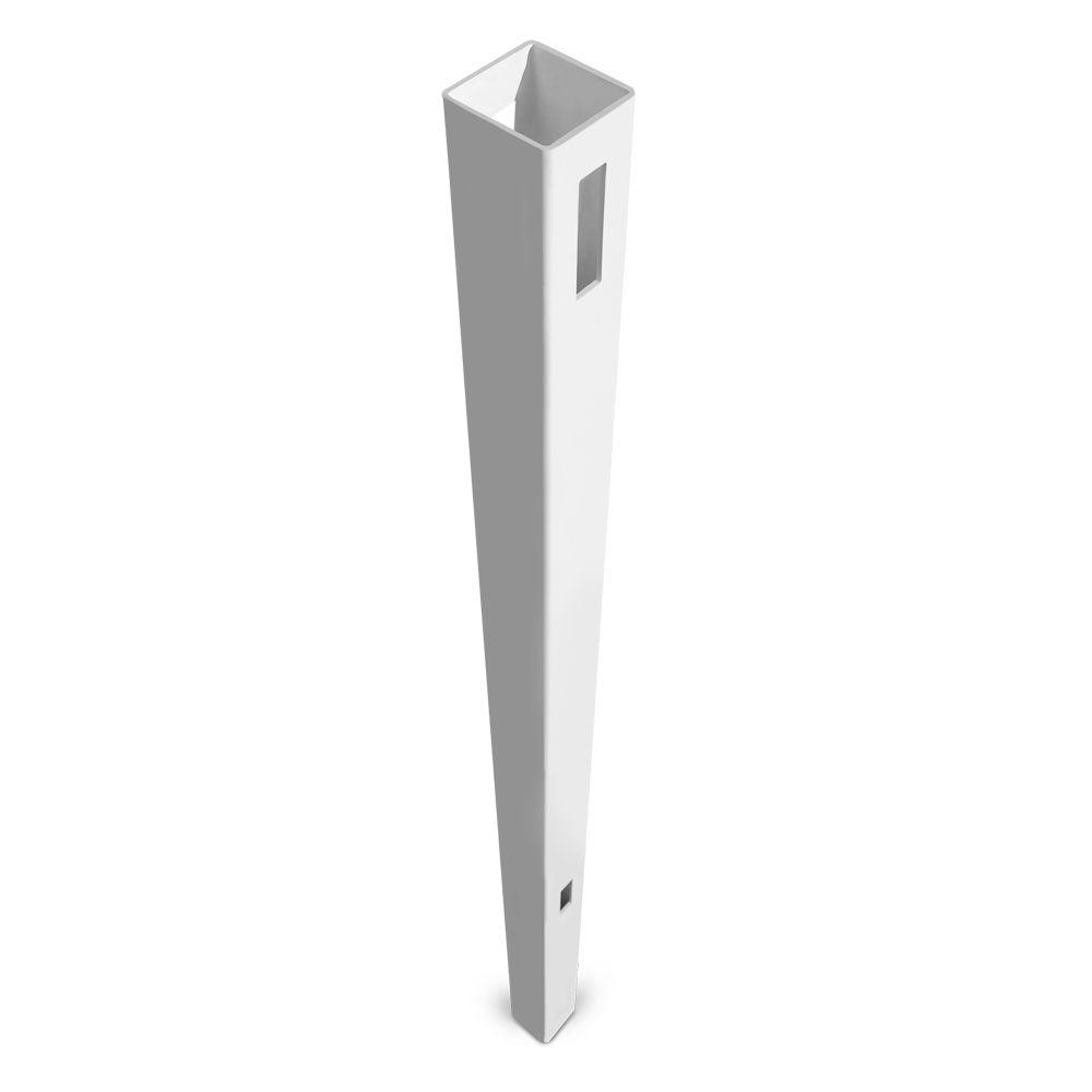 Veranda Pro Series 5 in. x 5 in. x 8-1/2 ft. Patio White Vinyl Anaheim Heavy Duty Routed Fence Line Post