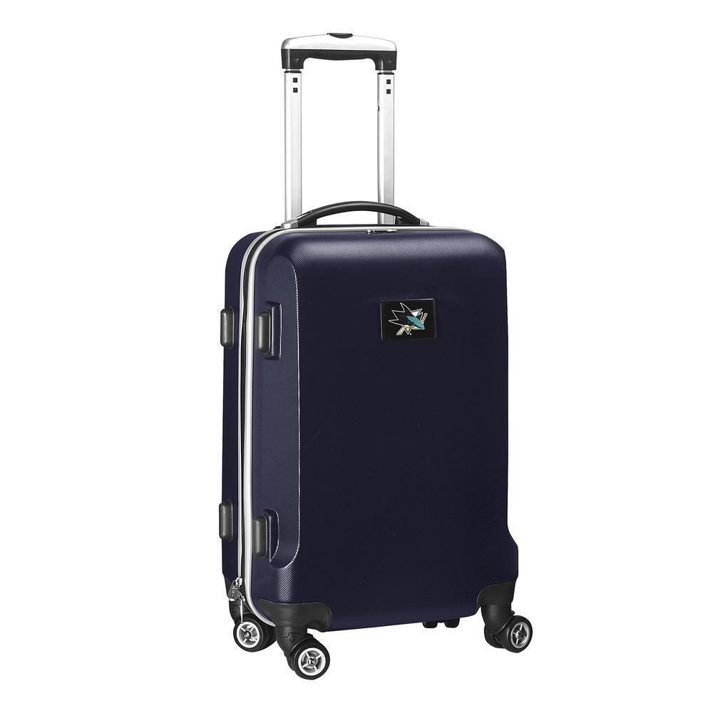Denco NHL San Jose Sharks 21 in. Navy Carry-On Hardcase Spinner Suitcase, Blue