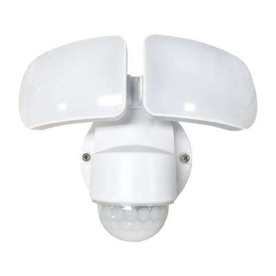 2200-Lumens 180-Degree White Motion Activated Outdoor Integrated LED Flood Light