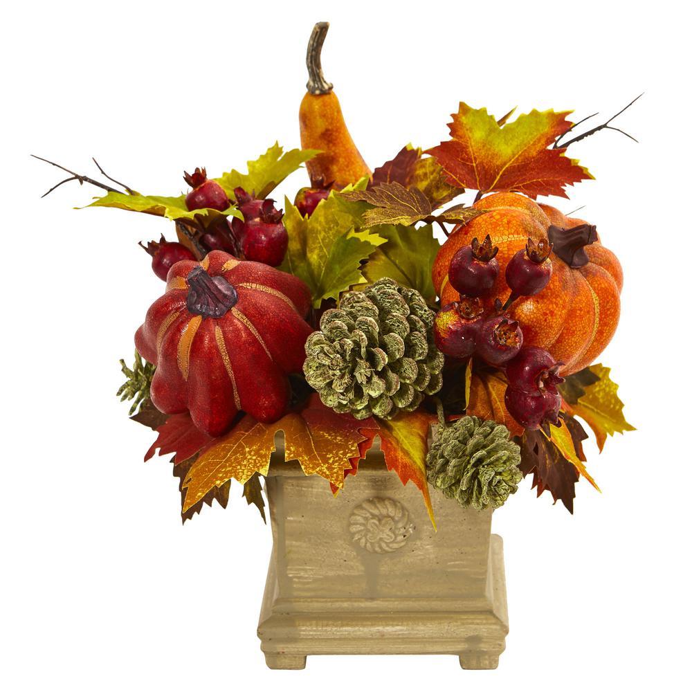Pumpkin, Gourd, Berry and Maple Leaf Artificial Arrangement