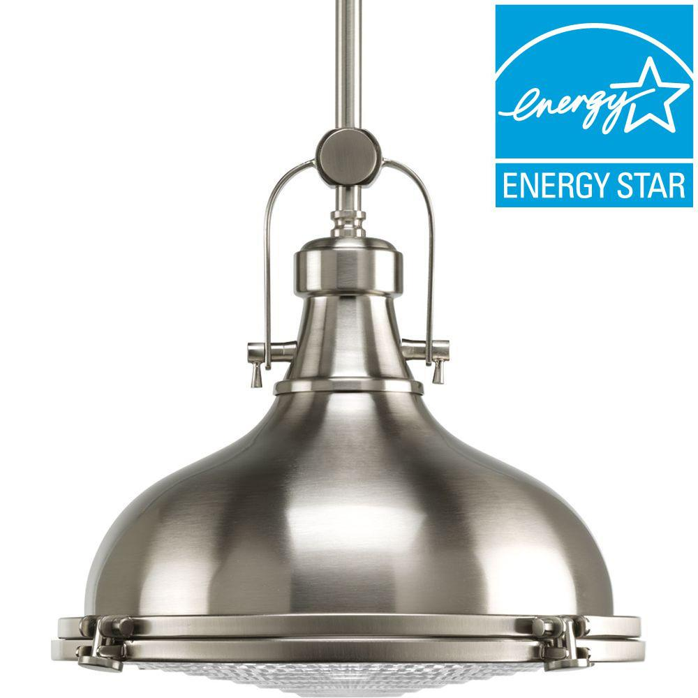 Fresnel Lens Collection 1-Light Brushed Nickel Integrated LED Mini Pendant with