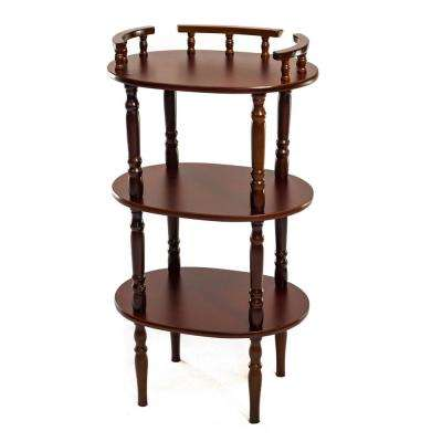 Home Source Gloria 3 Tier Mahogany Oval Telephone Stand