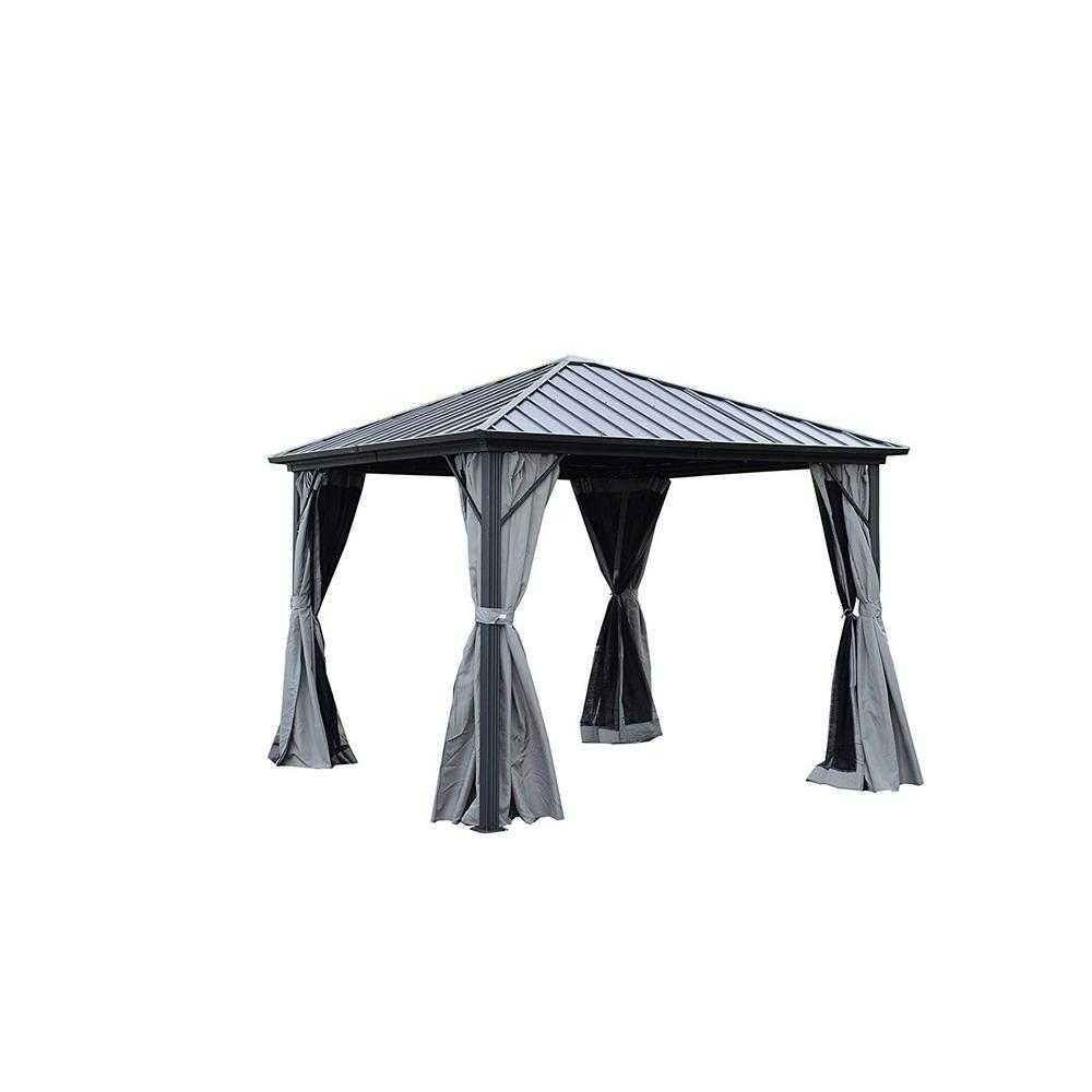 ALEKO 10 ft. x 10 ft. Black Gazebo with Mosquito Net and Curtain