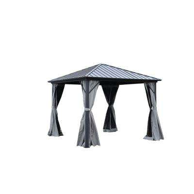 10 ft. x 10 ft. Black Gazebo with Mosquito Net and Curtain