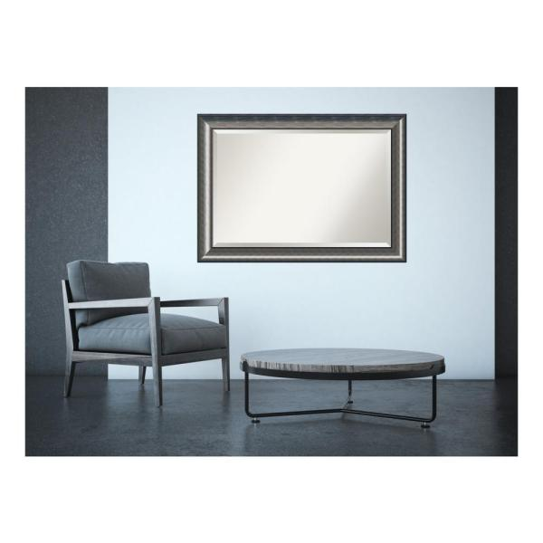 Quicksilver Wood 43 in. W x 30 in. H Contemporary Framed Mirror