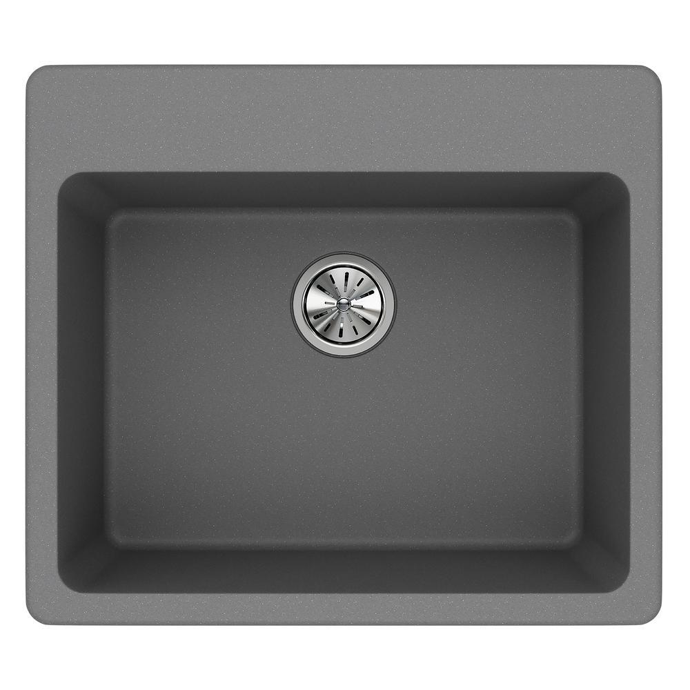 Quartz Classic Drop-In Composite 25 in. Single Bowl Kitchen Sink in Greystone